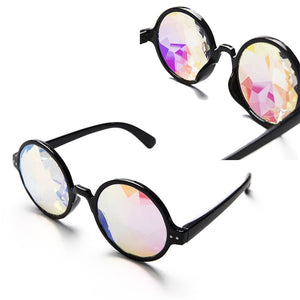 Black/White Rim Kaleidoscope Glasses