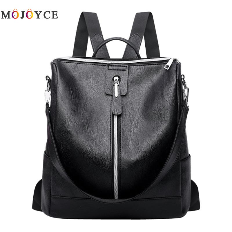 Leather simple Zipper Backpack