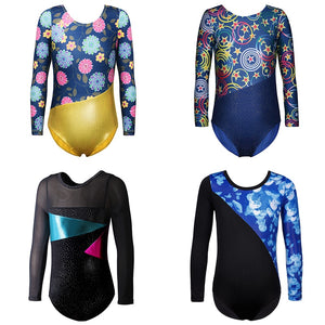 Girls Mesh Long Sleeved Gymnastics Leotard