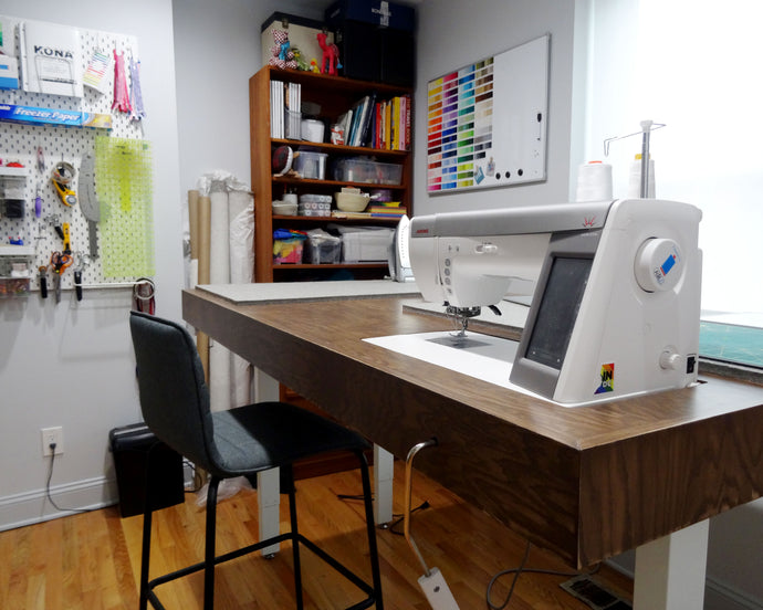 Building an Adjustable Height Sewing Workstation
