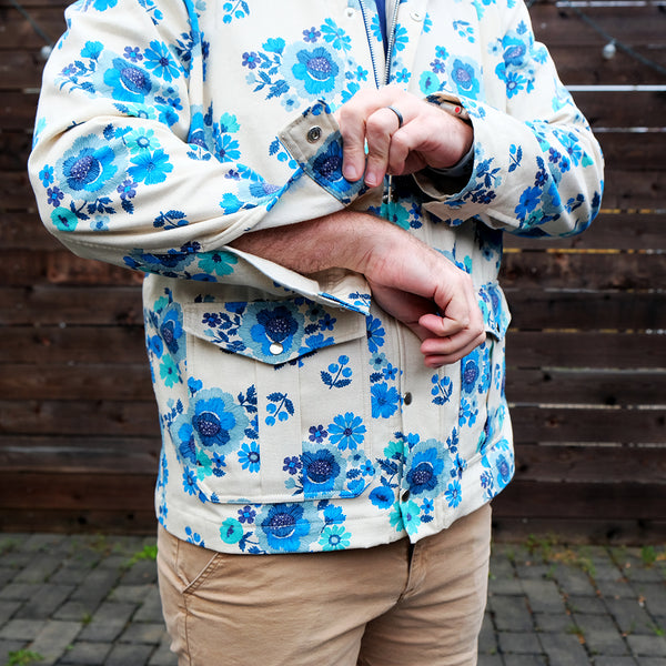 Floral jacket, sleeve cuff open