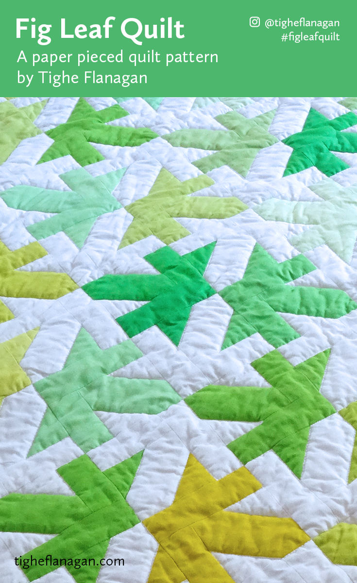 Pinterest postcard for Fig Leaf Quilt