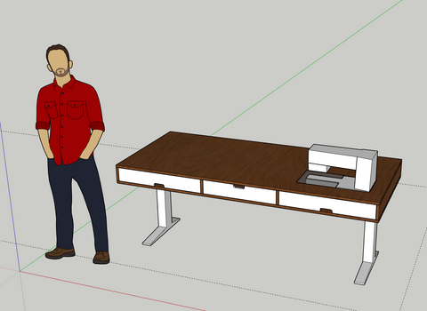 Mockup of sewing desk in SketchUp