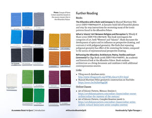 Fabric swatches and further reading spread from digital PDF pattern.