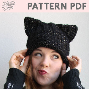 Black Cat Slouch Hat Crochet Pattern PDF