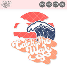 Catch the Wave Retro Sunset SVG Cut File