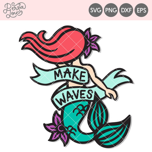 Make Waves Mermaid Cut File