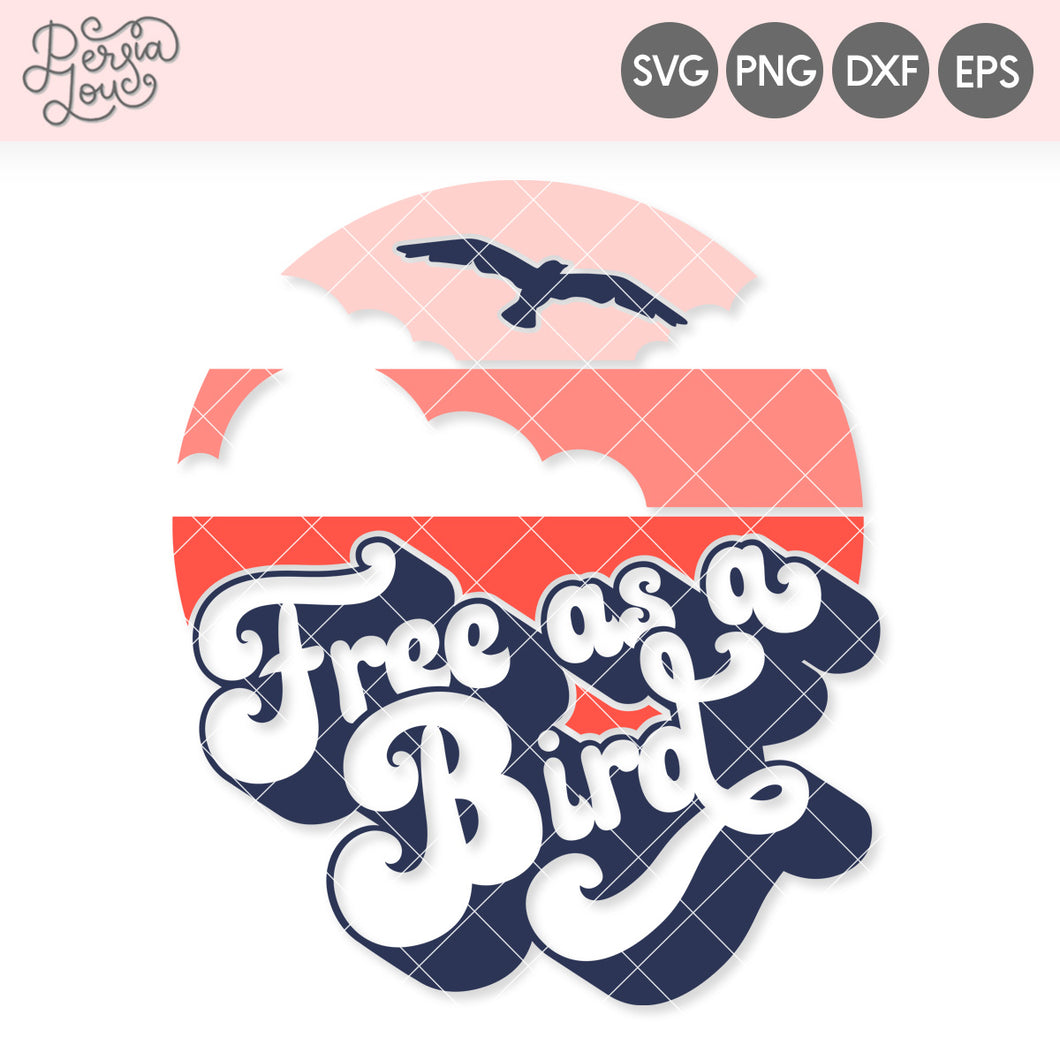 Free as a Bird Retro Sunset SVG Cut File