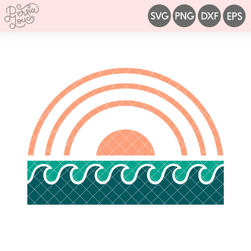 Modern Sunset and Waves SVG Cut File