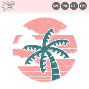 Retro Sunset Palm Tree SVG Cut File