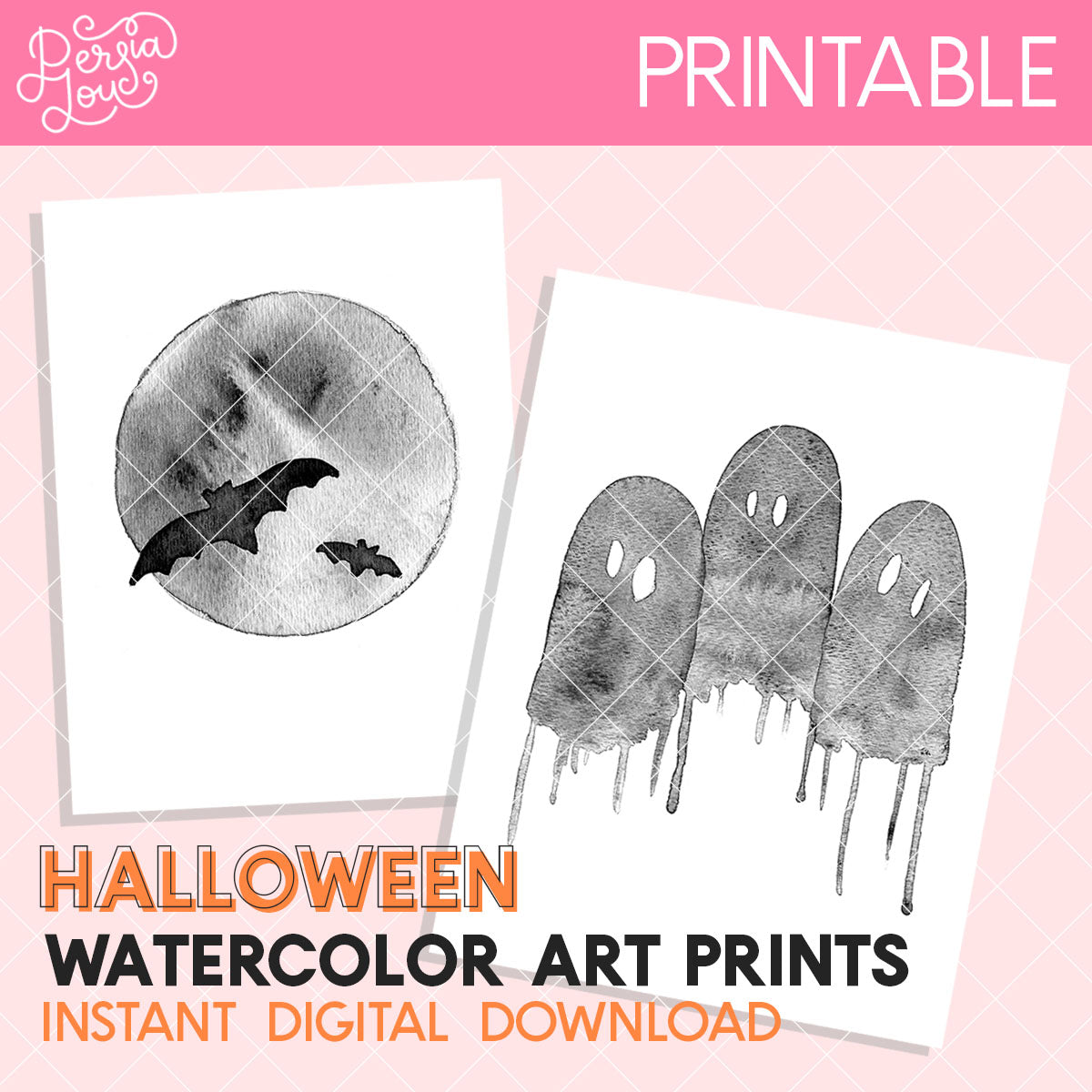 Watercolor Halloween Digital Art Prints