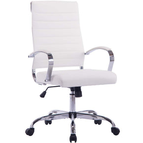 Sidanli White Computer Chair, Conference Chairs with Pu Leather