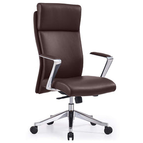 Adjustable Ergonomic Draper Leather Executive Chair with Aluminum Frame- Dark Brown