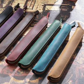 Genuine Leather Zipper Pen Bag, Pencil Case