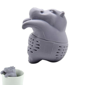 Hippo Shaped Tea Infuser Silicone Reusable Tea Strainer Coffee Herb Filter Empty Tea Bags Loose Leaf Diffuser Accessories