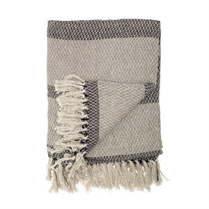 Charcoal Stripe Cotton Blend Knit Throw