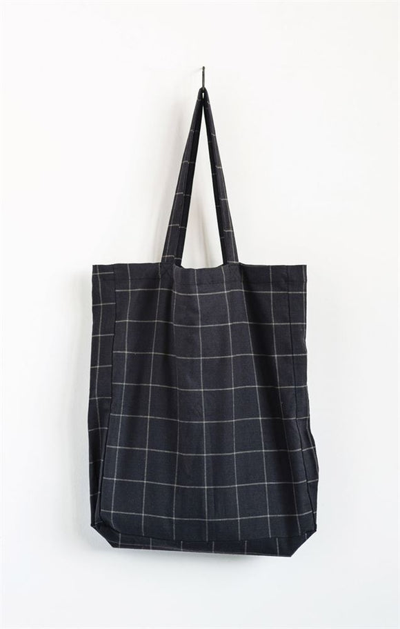 Black Grid Oversized Tote