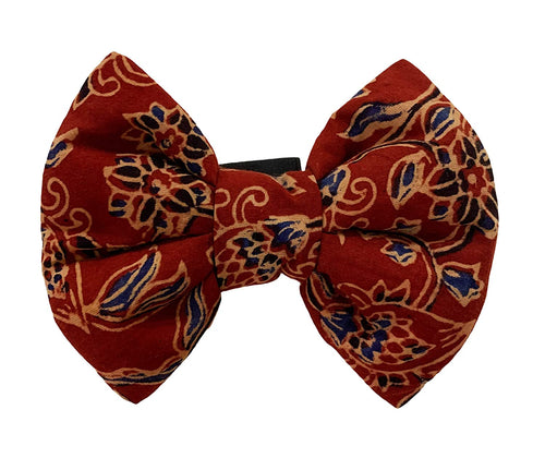 Festive Bow Tie for Pets: Traditional Ajrakh Red Dog Bow (Multi-Colour)