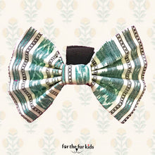 Load image into Gallery viewer, Bow Ties for Dogs: Sambalpuri Ikat Green Bow Tie for Pets