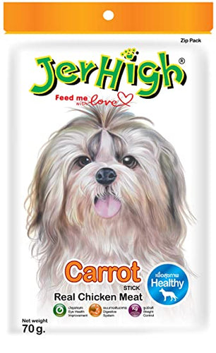 Dog Treats: JerHigh Chicken Carrot Stick Real Chicken Meat (70 grams)