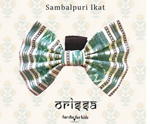 Bow Ties for Dogs: Sambalpuri Ikat Green Bow Tie for Pets