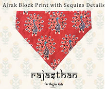 Load image into Gallery viewer, Dog Bandana: Rajasthani Ajrak Block Print Bandana for Pets