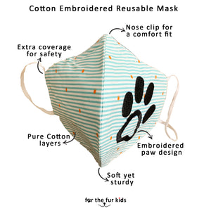 Cotton Embroidered Reusable Non-Surgical Mask (Set of 2)