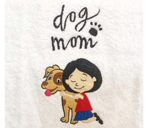 Dog Mom Embroidered Towel