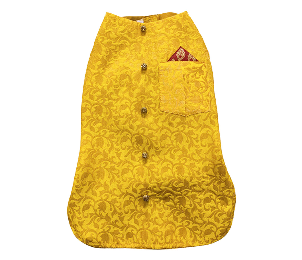 Dog Clothes: Dog Sherwani Wedding Outfit (Yellow)