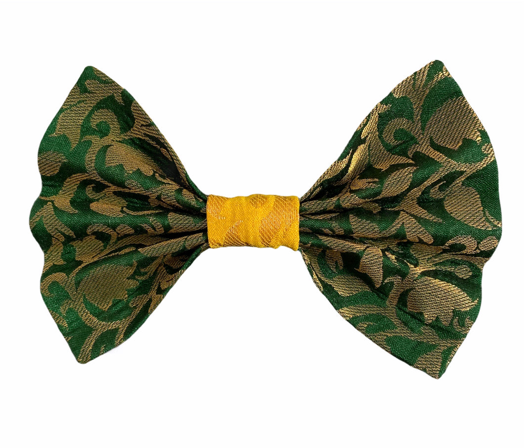 Bow Ties for Dogs: Ethnic Diwali Bow Tie (Green & Yellow)
