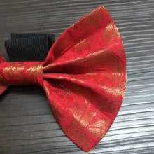 Load image into Gallery viewer, Festive Bow Ties: Red Brocade