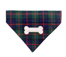 Load image into Gallery viewer, Winter Plaid Dog Bandana: Bone Embroidered Bandana