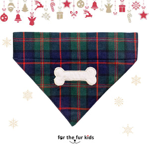 Winter Plaid Dog Bandana: Bone Embroidered Bandana
