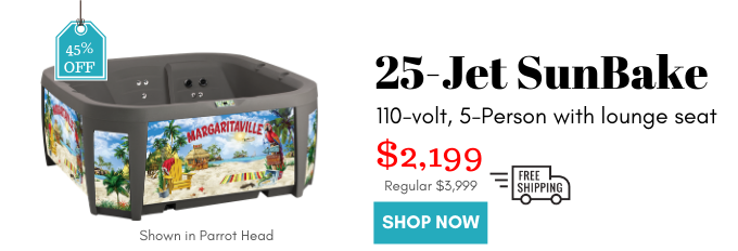 SunBake Hot Tub 25 Jets 110v Plug-N-Play is now 45% off! Only $2199 for the hot tub, steps, cover, and shipping!