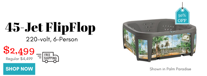 Flip Flop Hot Tub with 45 jets, 220v, is now 50% off. Only $2499 for the hot tub, cover, steps and shipping!