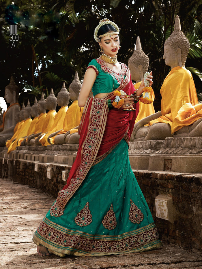 Red & Green Net Lehenga Choli