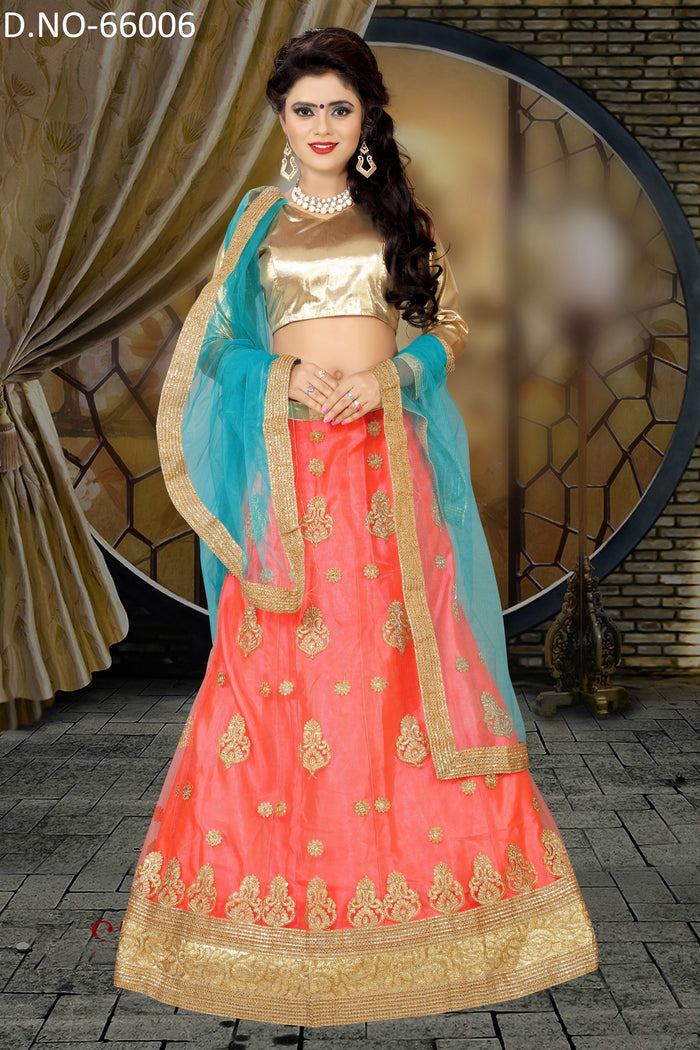 Peach & Sea Blue Net Lehenga Choli