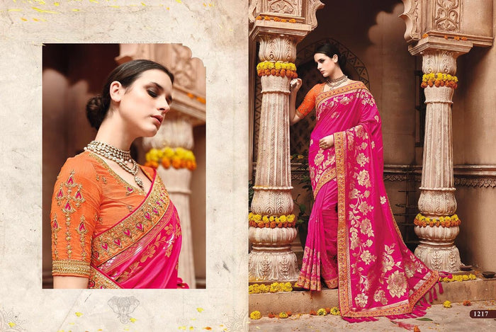 Pink Raw Silk / Banglori Silk Saree