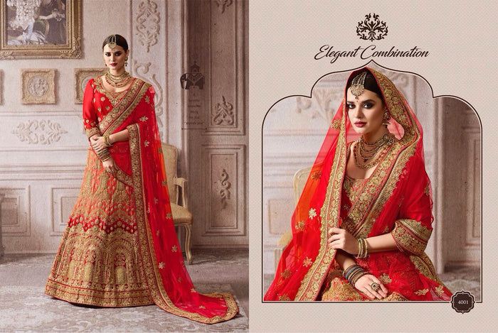 Red And Peach Satin Lehenga