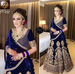 Royal Blue Velvet Lehenga
