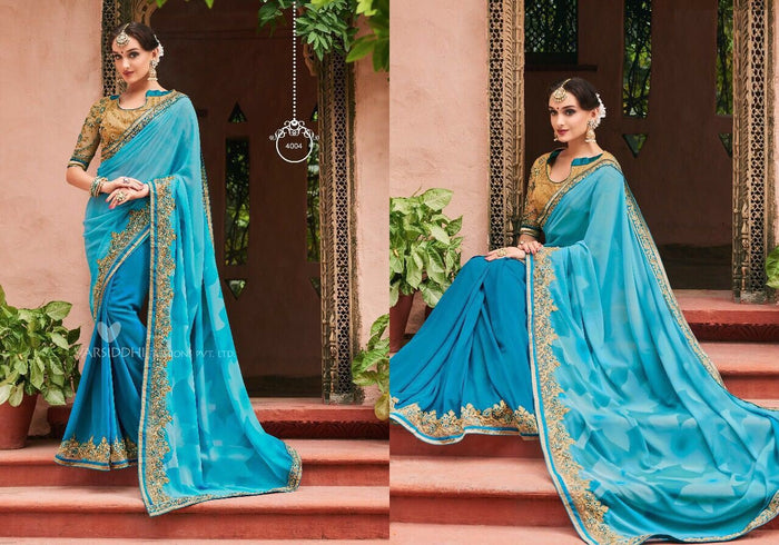 Sea Blue Pure Georgette Saree