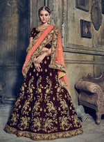 Brown & Orange Velvet Lehengha Choli