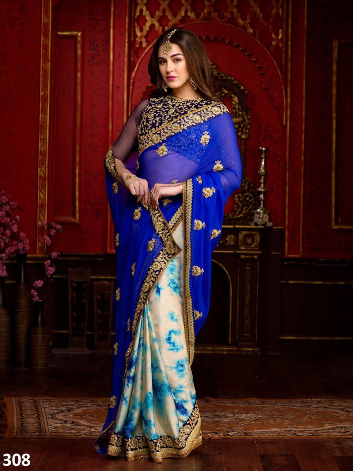 Blue & White Chiffon Saree