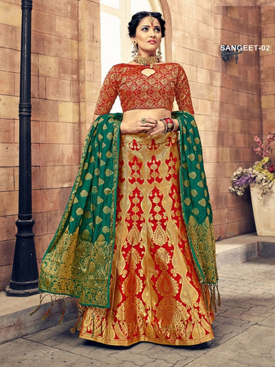 Red & Green Banarasi Silk Lehenga Choli