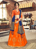 Orange & Blue Banarasi Silk Lehenga Choli