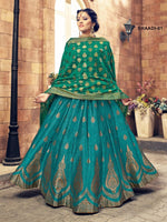Sea Blue & Green Banarasi Silk Lehenga Choli