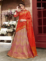 Light Pink & Red Banarasi Silk Lehenga Choli