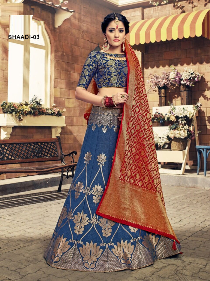 Blue & Red Banarasi Silk Lehenga Choli