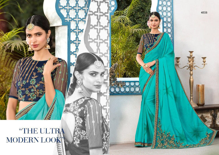 Sea Blue Pure Cadbury Chiffon Saree