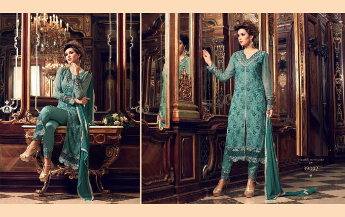 Sea Blue Georgette Salwar Kameez